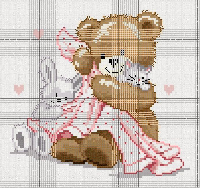 1000 Artes: Fralda Passeio - ponto cruz bebê
