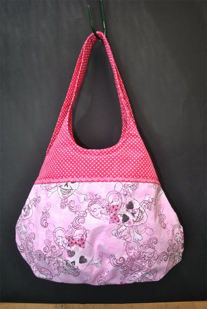 Susi - pink skull & polka dot sling bag | Witching Hour | madeit.com.au