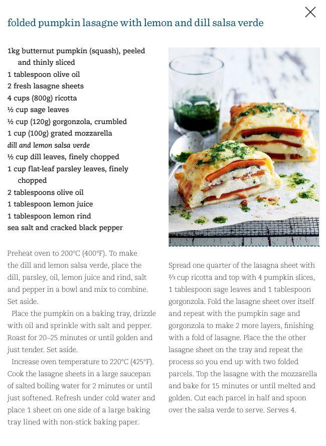 Folded pumpkin lasagne with lemon and dill salsa verde