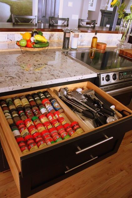 Spice Storage.  traditional kitchen by Distinctive Designs in Cabinetry