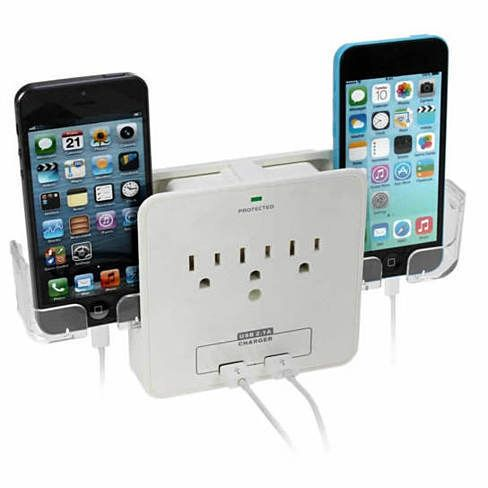 Combo Wall Adapter w/ built in stand, 3 AC outlets & Dual USB ports to charge your gadgets super fast.