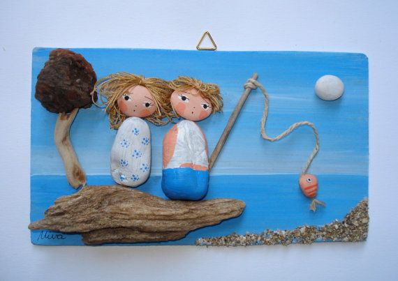 Lucky day - Unique beach pebble art. Lucky day is made using pebbles from beautiful beaches along Adriatic sea in Croatia and are attached with great love and care on hand painted wooden board. The overall dimensions are approx. 10 cm (4 inch) x 17 cm (6.7 inch)  All items are carefully packaged to ensure they reach you in good condition.  You can buy it for yourself or as a gift for a loved one, this piece will be a treasured item for years to come!  Thank you very much for looking at my…