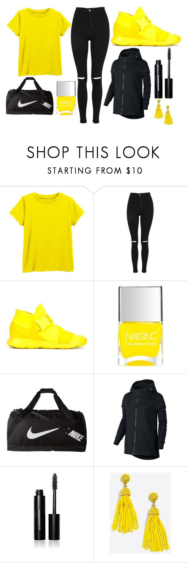"""""""Yellow and Nike"""" by thisisalle on Polyvore featuring Topshop, Christopher Kane, Nails Inc., NIKE, Bobbi Brown Cosmetics and J.Crew"""
