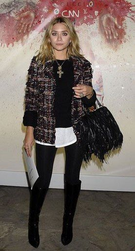 Ashley Olsen , street chic in classic Chanel tweed jacket