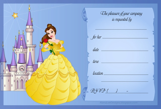 Free Disney Princess Invitations featuring Belle (Beauty)