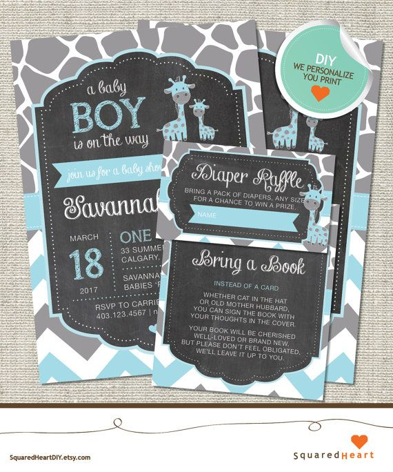 Giraffe Baby Shower Invitation Giraffe by SquaredHeartDIY on Etsy