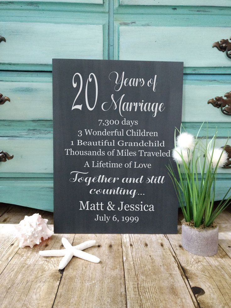 20 Years of Marriage Hand Painted Wood Sign, 20th