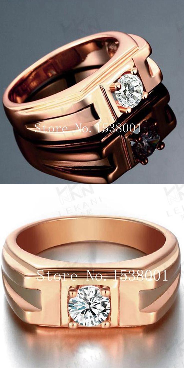 [Visit to Buy] Vogue  Rose Gold Filled Womens Mens Ring Size 10 Paved Clear  #Advertisement
