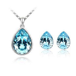 Classic Tear Drop Crystal Necklace and Earring Set TCDJS0023 #Jewelry #WomensJewelry