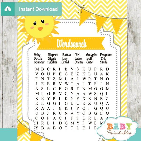 You Are My Sunshine Baby Shower Games Bundle – D160