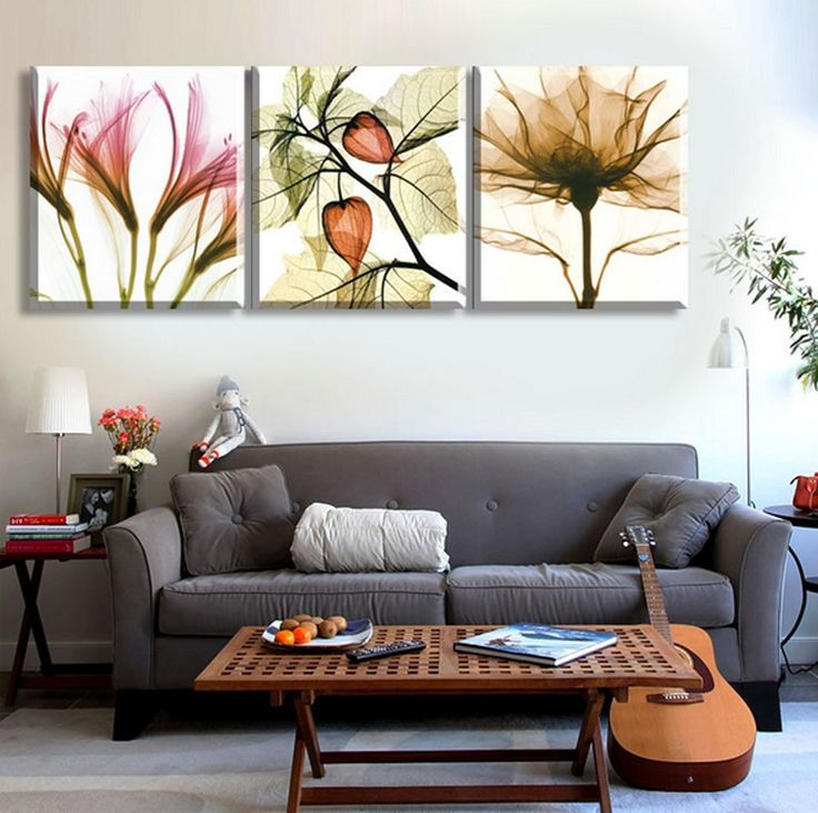 Amazon.com: Hot Sell 3 Panels 60 x 60 cm Modern Wall Painting Leaves and Flowers Picture Home Decorative Art Picture Paint On Canvas Prints: Posters & Prints