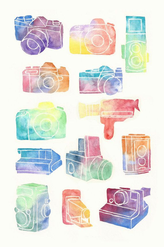 Illustrated Watercolor Camera Poster  12x18in by RacingMinds, $12.00