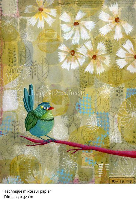 Oiseau, technique mixte sur papier, e2ma, Emmanuelle Folligné