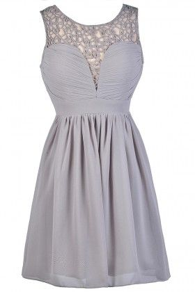 Cute Gray Dress, Grey Sundress, Grey Party Dress, Gray Party Dress, Gray A-Line Dress, Gray Cocktail Dress, Gray Chiffon Dress, Grey Chiffon Dress, Gray Crochet Dress