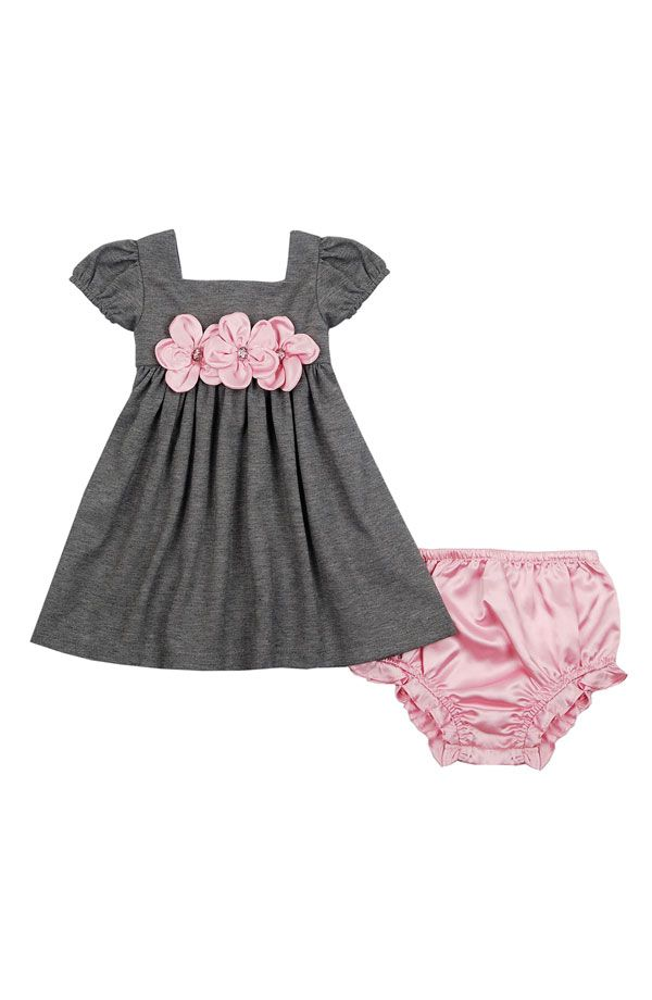 for baby- gray dress with pink flowers