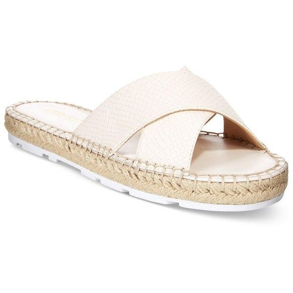 Nine West Demetria Crossband Slide Sandals ($28) ❤ liked on Polyvore featuring shoes, sandals, off white, genuine leather shoes, leather sandals, leather footwear, nine west espadrilles and off white shoes