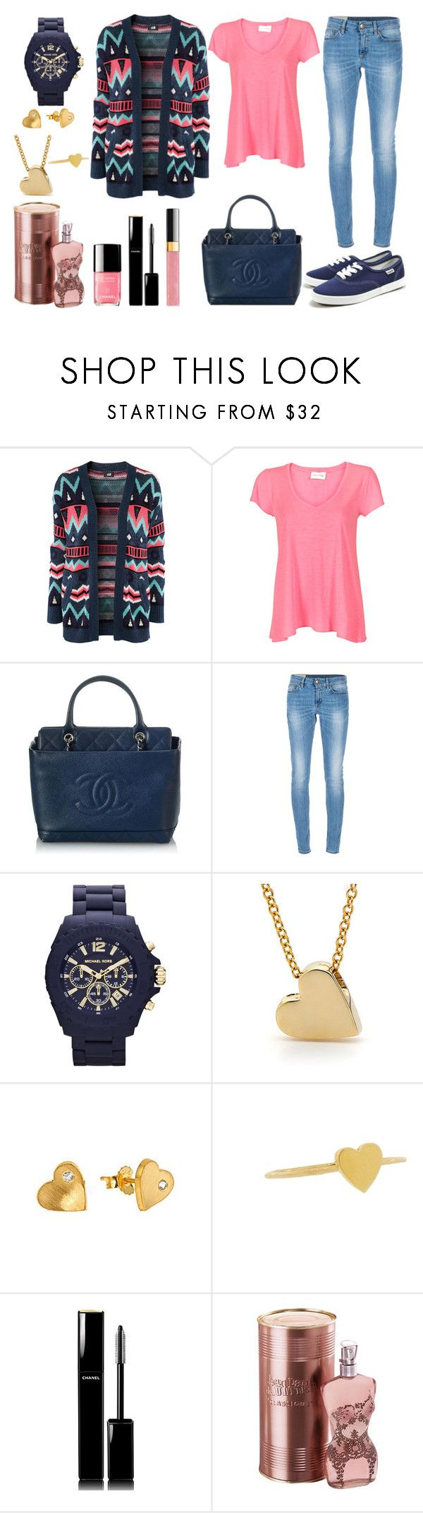 """""""Tenue 57"""" by yasmine-ines ❤ liked on Polyvore featuring H&M, American Vintage, Chanel, Dondup, Michael Kors, Pineapple Seed, Jennifer Meyer Jewelry and Jean-Paul Gaultier"""