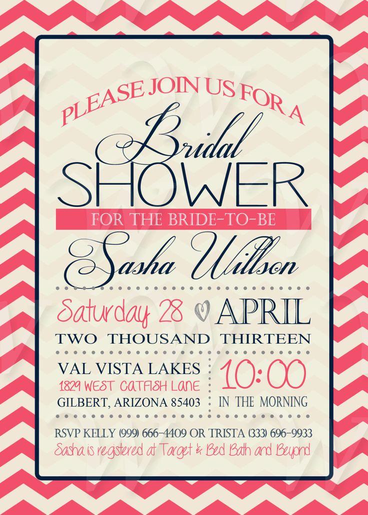 Printable Bridal Shower Invitation DIY - Chevron Bridal Shower, Wedding Shower, Couples Shower, Lingerie Party. $12.00, via Etsy.