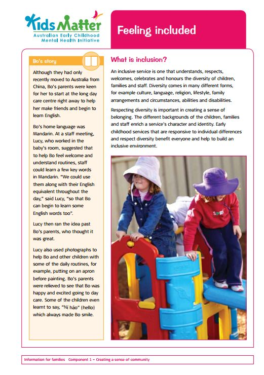 Top tips: Feeling included. Information sheets for families and ECEC staff.