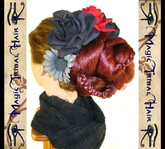 fiore di capelli danza del ventre goth di MagicTribalHair su Etsy