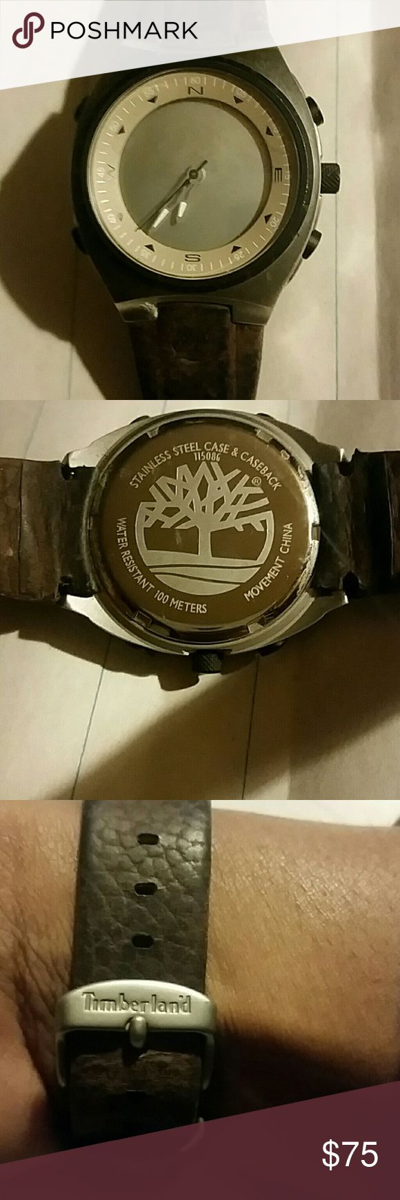 Men's Timberland Watch Brown, leather band  Metal face Compass face Battery needs to be replaced Good condition Timberland Accessories Watches