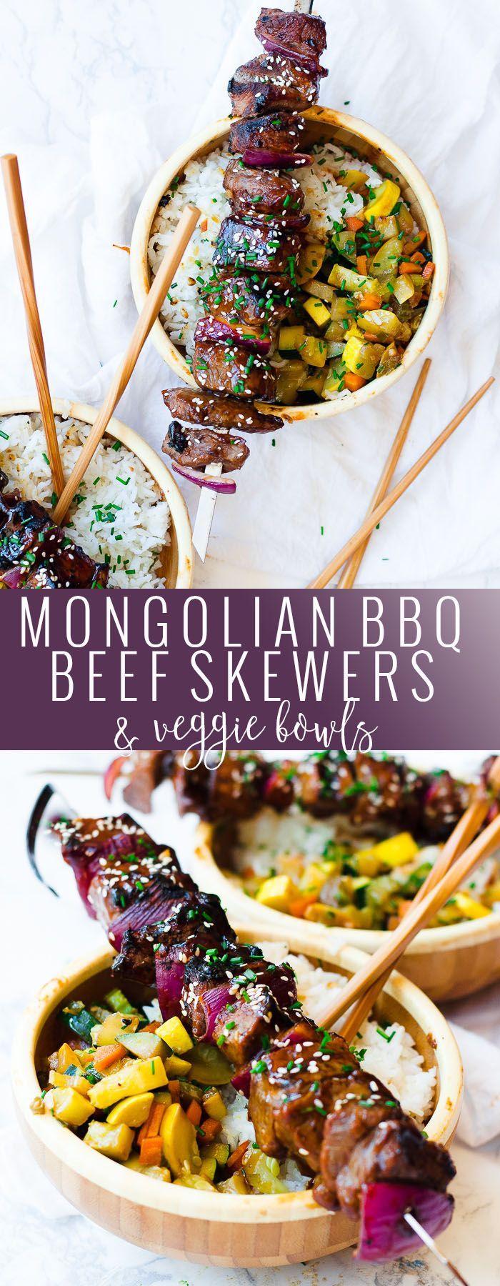 Mongolian BBQ Beef Skewers & Veggie Bowls   homemade asian inspired recipes   healthy asian recipes   easy skewer recipes   homemade beef skewers    Oh So Delicioso #ad #mongolianbeef #beefskewers #asianrecipes @pfchangshomemenu