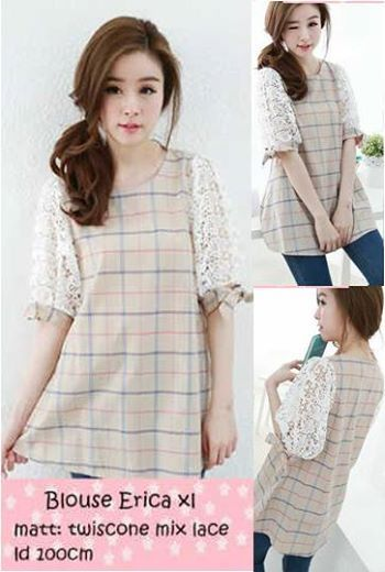 Blouse Erica XL Bahan Twiscone mix Lace     Fit XL     Harga : Rp. 80.000,-/pc     Kode Produk / Product Code : X3957