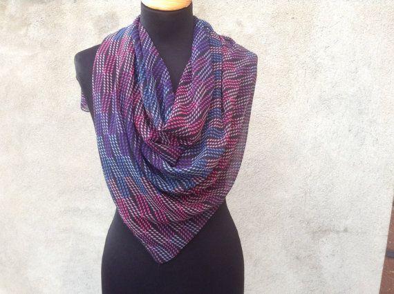 Scarf 100x100 chiffon fashionable print от ComfortSV на Etsy