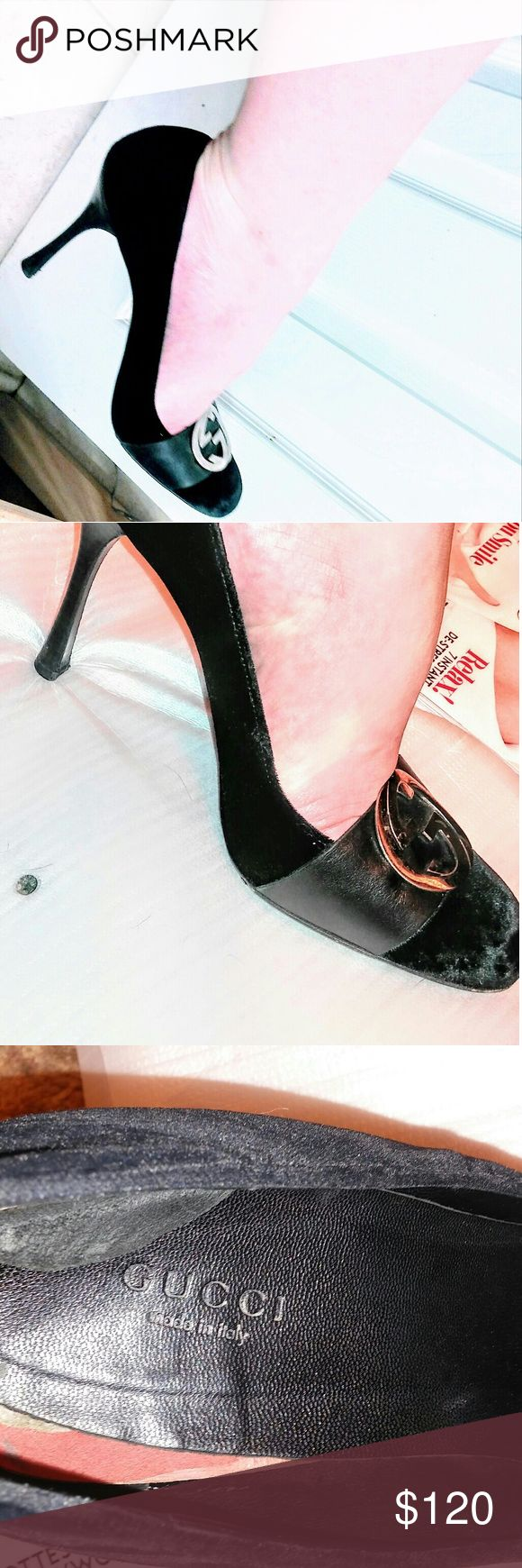 Gucci vintage pumps size 39 or US size 9.5 These are authentic Gucci made in Italy pumps. Velvety material. High heel. Comfortable to walk in. One shoe insole is coming off a bit as you may swe in the photo. It could be fixed tho. The bottoms have the usual scuffs nothing major. The hills are in tackt. Size 9 or 9.5. Gucci Shoes Heels