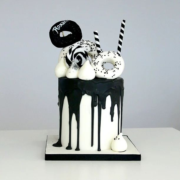 Black & White Donut Drip | miCake | bespoke cakes for private & corporate clients