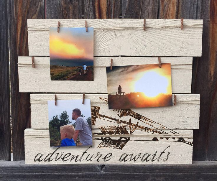Clothespin Photo Display, Rustic Picture Board, Adventure Awaits, Picture Display Board, Travel Board, Clothespin Picture Hanger by MegAndMosClubhouse on Etsy https://www.etsy.com/listing/517217909/clothespin-photo-display-rustic-picture
