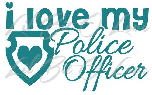 I Love My Police Officer with Heart Shield Vinyl Decal ...
