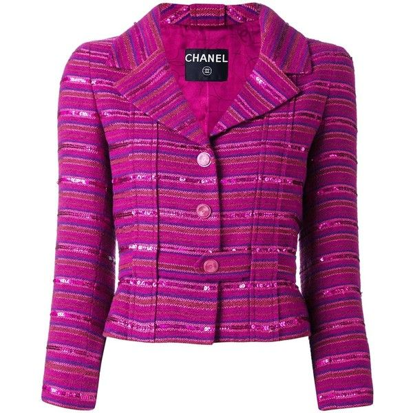 Chanel Vintage Sequin Embellished Striped Blazer ($2,232) ❤ liked on Polyvore featuring outerwear, jackets, blazers, purple jacket, chanel blazer, stripe blazer, vintage sequin jacket and sequin blazer
