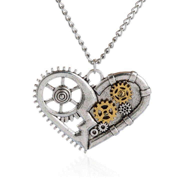 Jiayiqi caliente color plata collar de steampunk de la vendimia corazón amante de la joyería collar llamativo cadena de engranaje clásico de verano 2017