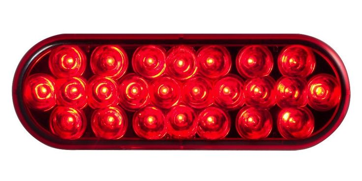 """6"""" Oval Red Led Stop/Tail/Turn Light With Red Lens 12V"""