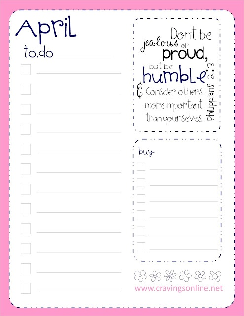 Printable April to-do list with memory verse. Helping make your God time easier.