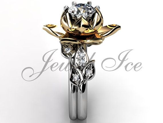 14k two tone white and yellow gold diamond unusual lotus flower engagement ring, bridal set, wedding ring, flower engagement set, anniversary ring by Jewelice