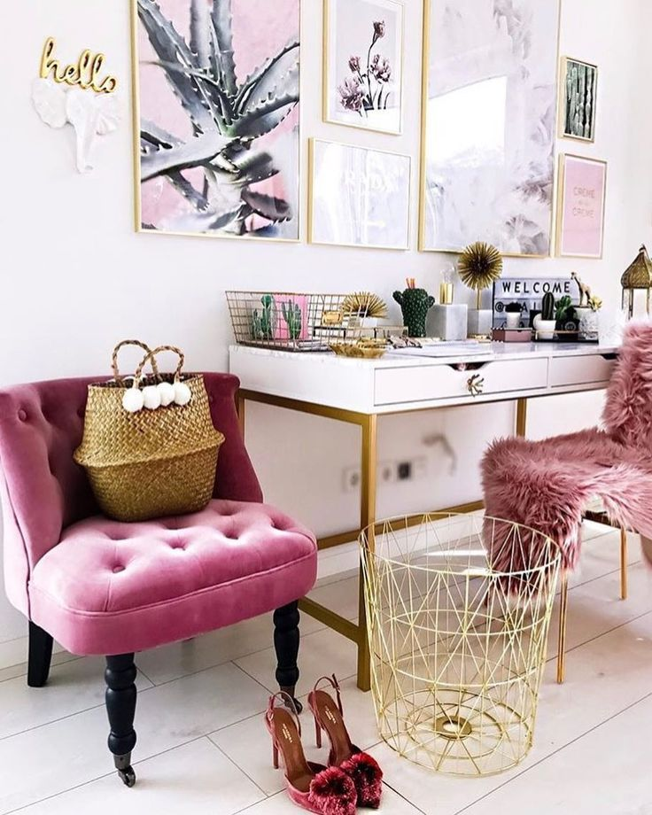 pink white gold office
