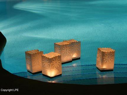 Luminarias flotantes, ideales para decoraciones de piscinas o estanques (bolsitas de papel de arroz)