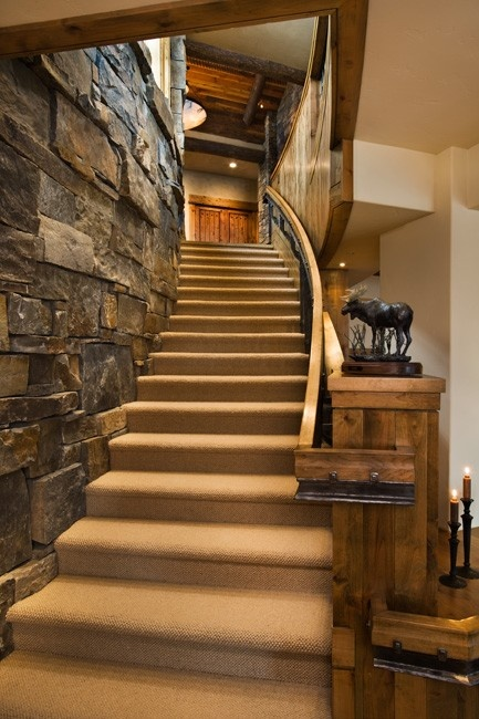 Marble Wall Stairs : Stairway absolutely love the stone wall dream home