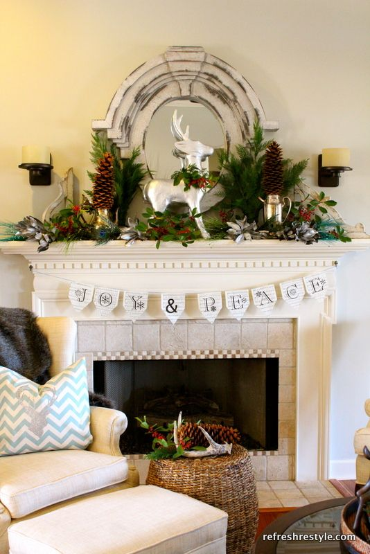 Natural Christmas Mantel - Refresh Restyle