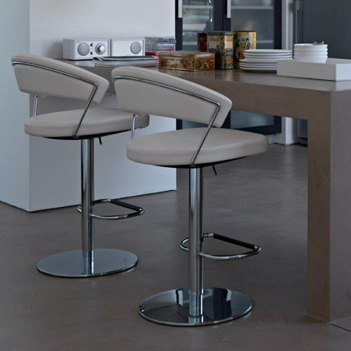 CS/1088-LH New York Leather Swivel Bar Stool, Calligaris Italy