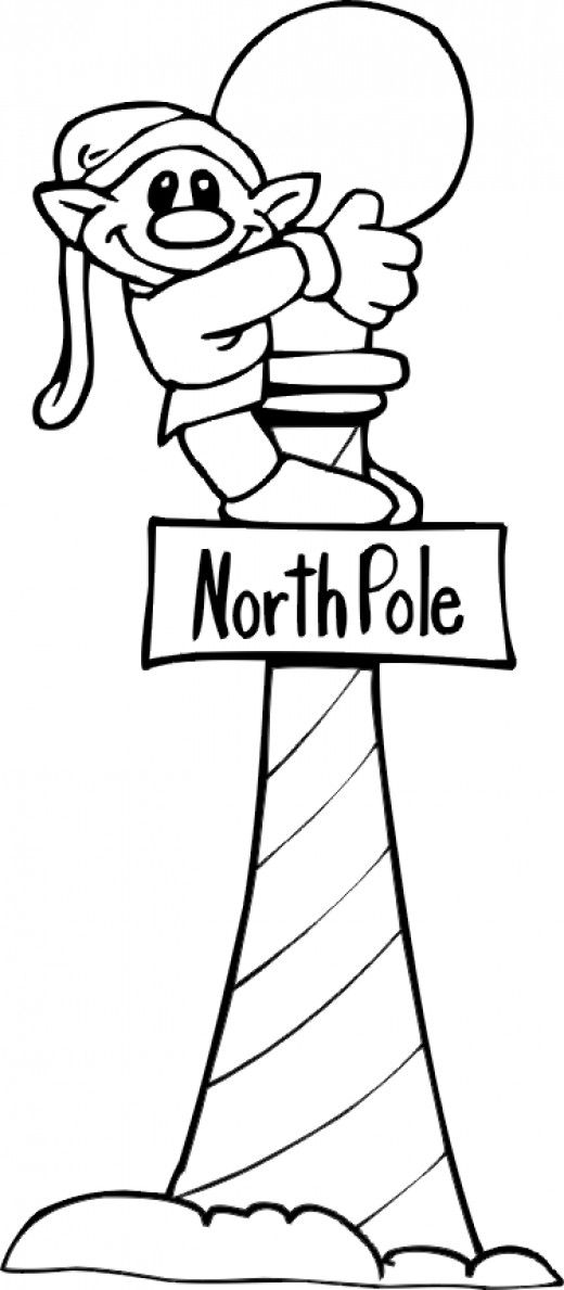 Elf on North Pole sign coloring page