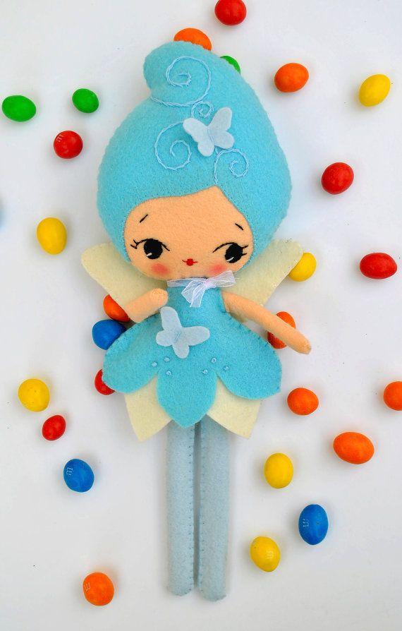 Felt doll Blue Fairy Collectible plush toy Fairy doll Baby gift Butterfly doll Baby nursery decor 100% eco wool felt
