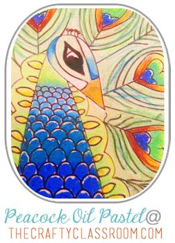 Peacock Oil Pastel Tutorial For Kids!  India crafts and activities.  The Crafty Classroom