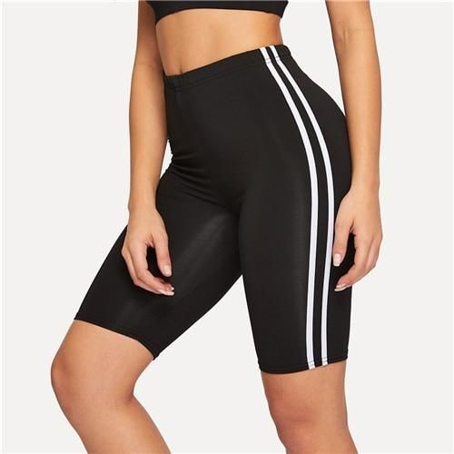 Contrast Striped Side Cycling Shorts Active Wear Women Skinny Biker Shorts 2019 …   – fasion