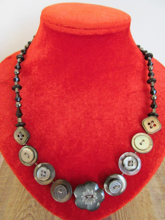 Button Necklace Dark Mother of Pearl Button Necklace Retro