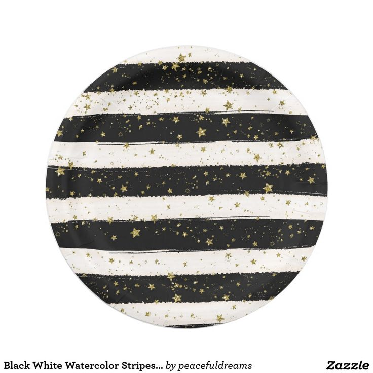 Black White Watercolor Stripes Gold Glitter Stars 7 Inch Paper Plate  sc 1 st  Pinterest & 258 best Plates images on Pinterest   Leopard prints Ombre and ...