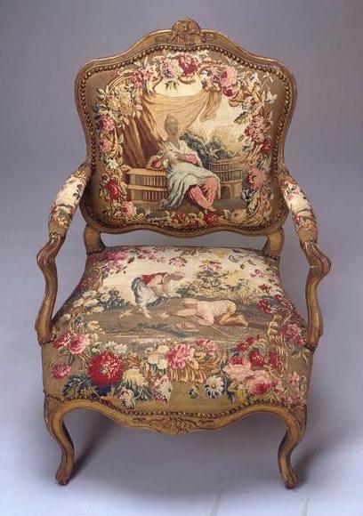 Louis XV armchair, gilt walnut and Beauvais silk tapestry circa 1740.