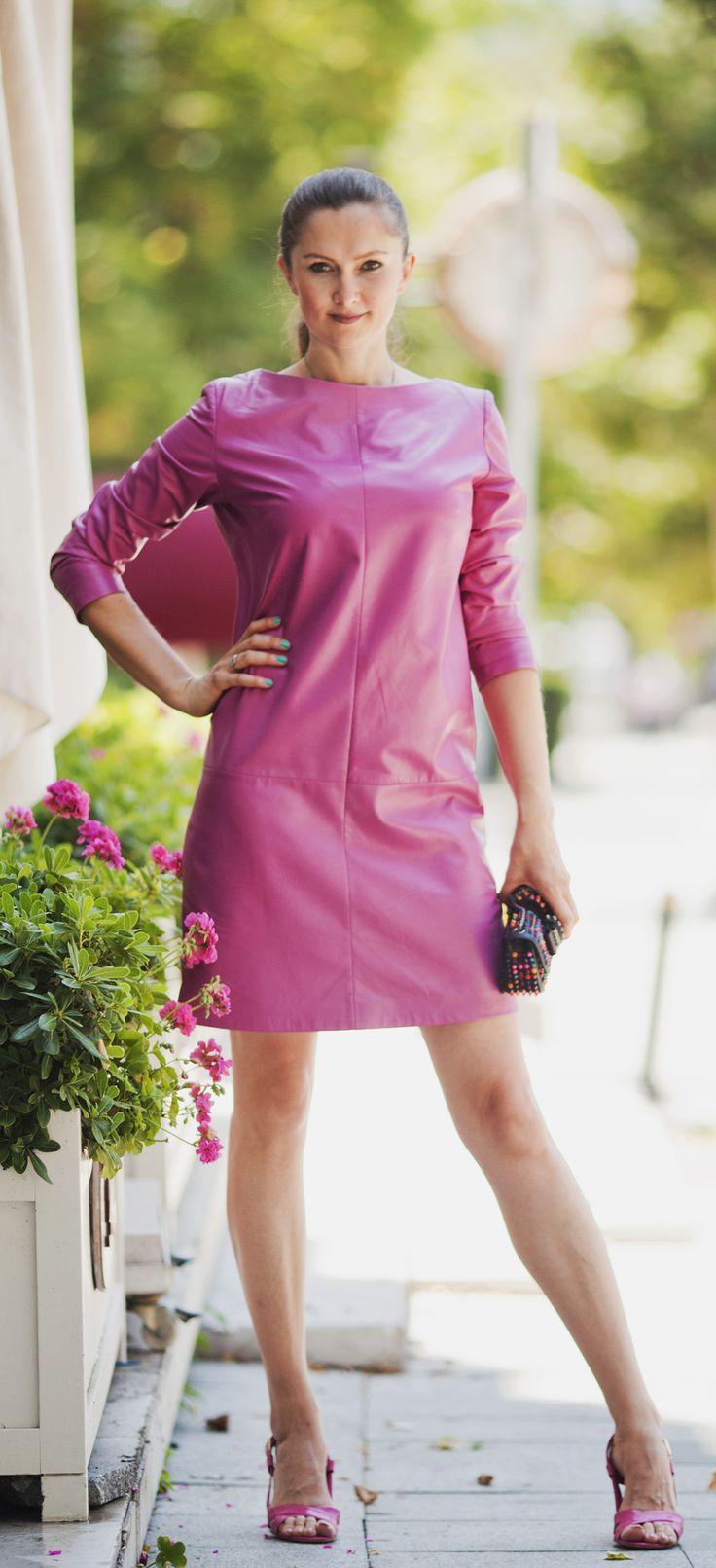 Pink leather dress by ADAMOFUR #inspiration #leather #leatherdress #pink #fashion